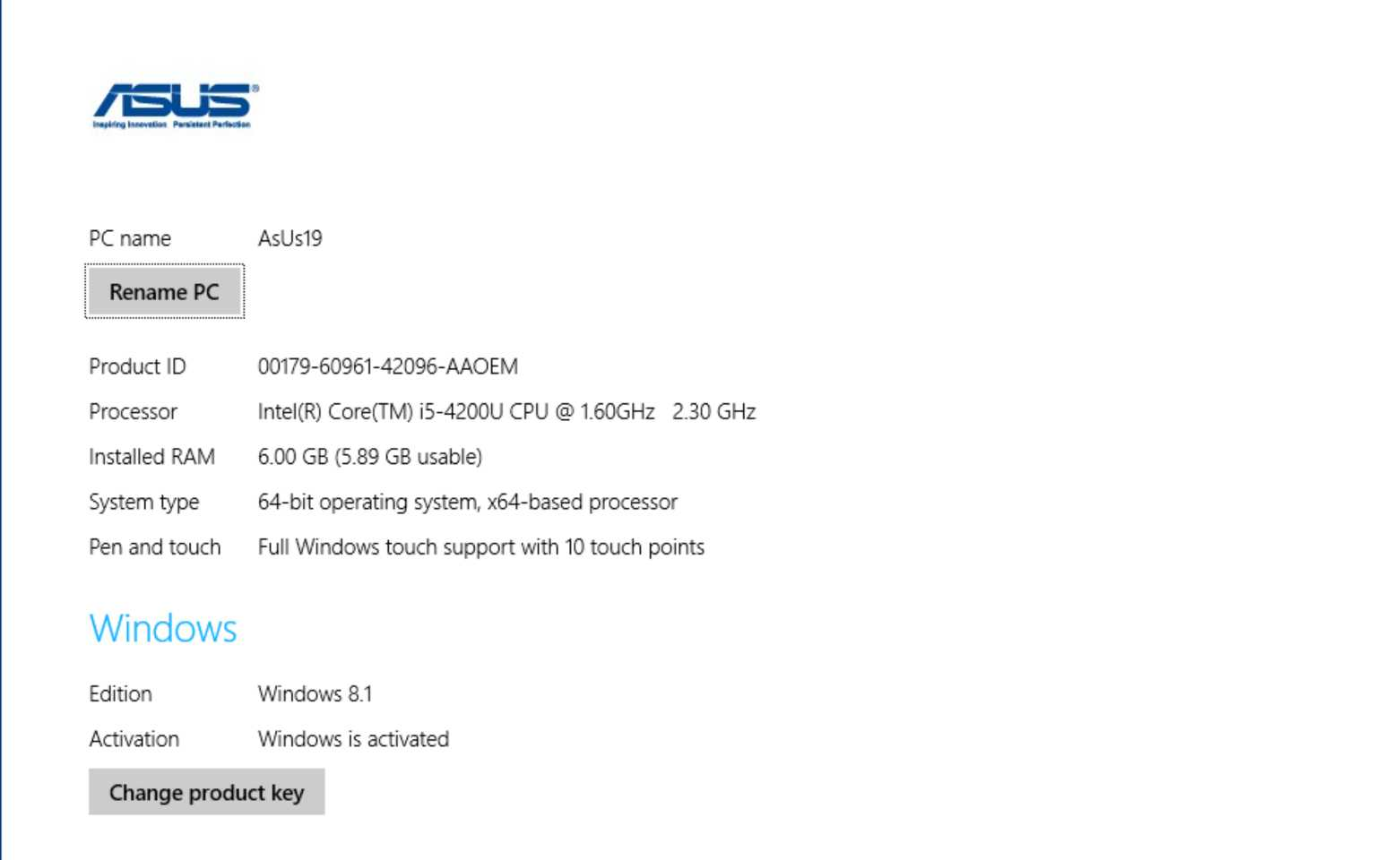 My Asus PC system configuration